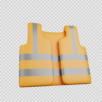 3d-rendering-konzept konstruktion symbol warnweste arbeiter