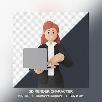 3d-rendering lächelnder frauencharakter mit laptop