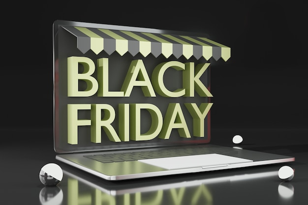 3d-rendering-laptop-modell für das online-shopping-thema der blackfriday-promotion