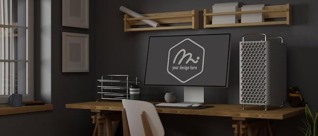 3d-rendering-loft-arbeitszimmer mit computermodell