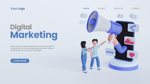 3d-rendering mann frau hand megaphon online digital marketing konzept landing page template halten
