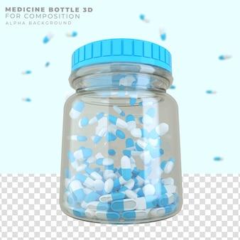 3d-rendering medizinflasche mit tablettenkapseln