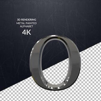 3d-rendering metall bemaltes alphabet design