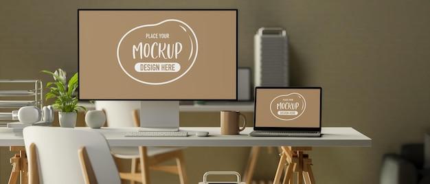 3d-rendering, minimaler büroraum mit computer-monitor, laptop-zubehör und dekorationen auf dem schreibtisch