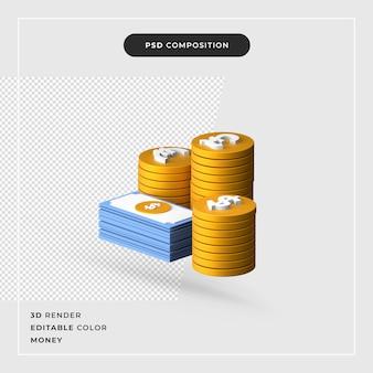 3d-rendering minimales geldzeichen isolierte stapel von münzen