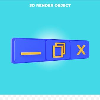 3d-rendering minimieren maximieren und schließen-symbol