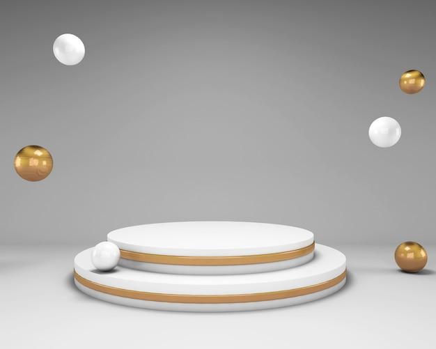 3d-rendering-mock-up-szene mit weißem podium und kugeln mit goldenen elementen
