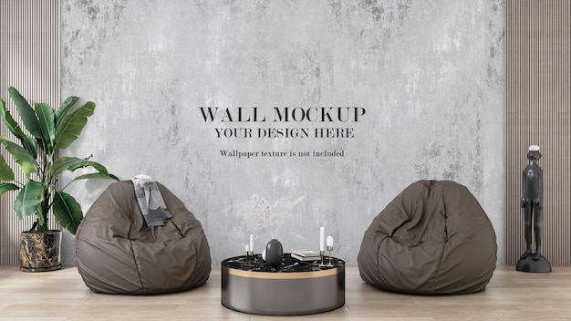 3d-rendering-modellwand hinter faulen sofas