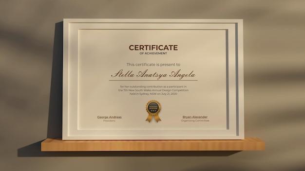 3d-rendering modernes realistisches mockup-design des zertifikats