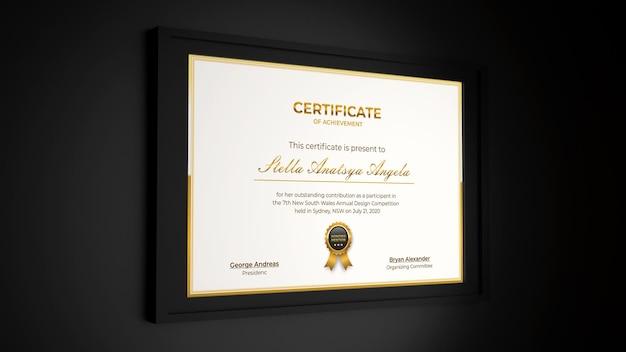 3d-rendering modernes, realistisches mockup-design mit zertifikat in elegantem schwarzem interieur