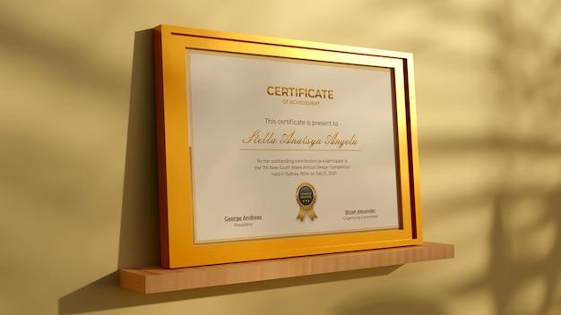 3d-rendering modernes zertifikat realistisches mockup-design gold