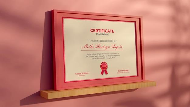 3d-rendering modernes zertifikat realistisches mockup-design rosa