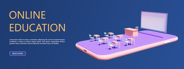 3d-rendering, neue technologie zum lernen zu hause, klassenzimmer auf mobilgeräten, anwendung zum lernen