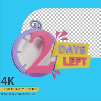 3d-rendering-objektmodellierung countdown 2 tage noch stoppuhr-abzeichen-design