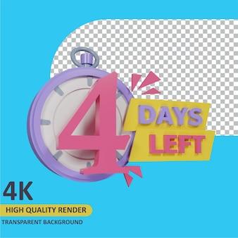 3d-rendering-objektmodellierung countdown 4 tage noch stoppuhr-abzeichen-design