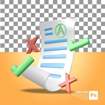 3d-rendering-objektsymbol ein blatt mit schultestergebnissen mit guten noten