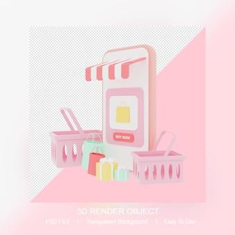 3d-rendering online-shop mit smartphone