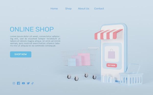 3d-rendering online-shopping auf smartphone mit online-zahlung
