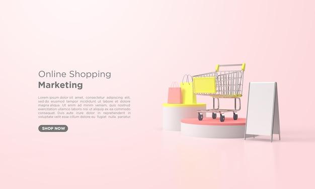 3d-rendering online-shopping-promotion