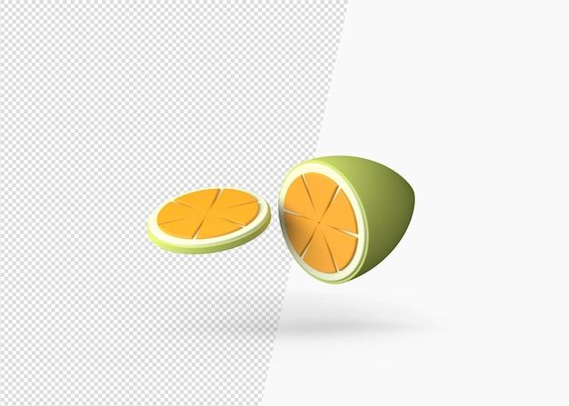 3d-rendering orangenscheibe sommerkonzept