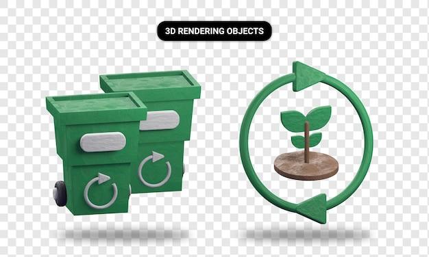 3d-rendering papierkorb und erneuerbare energien