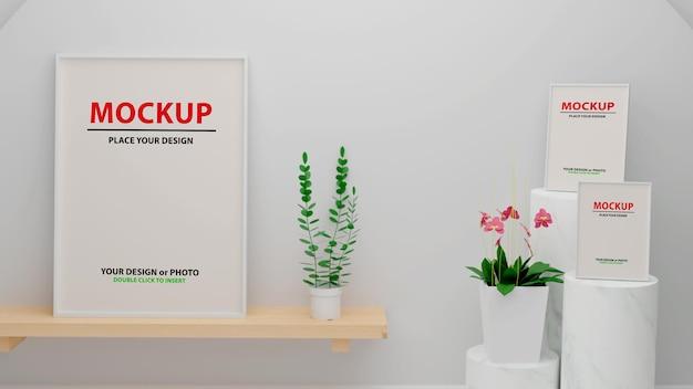 3d-rendering-plakat-fotorahmen im wohnzimmermodell