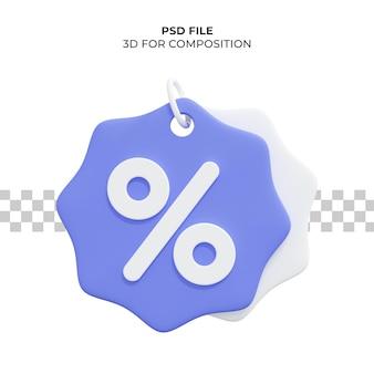 3d-rendering-preisschild mit prozentualem rabatt premium psd