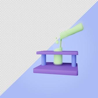 3d-rendering-reagenzglas mit grünem symbol für flüssige bildung