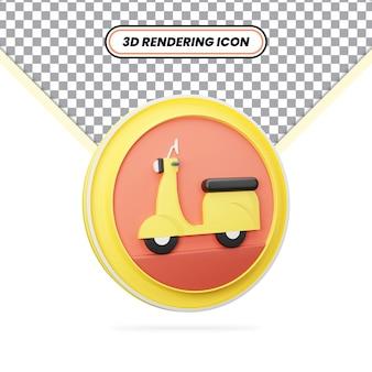 3d-rendering realistisches gelbes roller-symbol