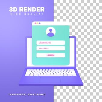 3d-rendering-registrierungskonzept durch eingabe von benutzername und passwort.