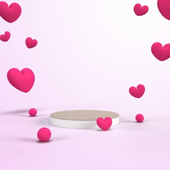 3d-rendering rosa podium mit liebe