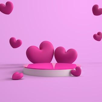 3d-rendering rosa podium mit süßer liebe