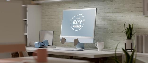 3d-rendering-schreibtisch mit computermodell