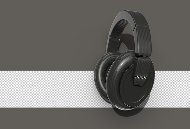 3d-rendering schwarze kopfhörer transparente psd-datei.