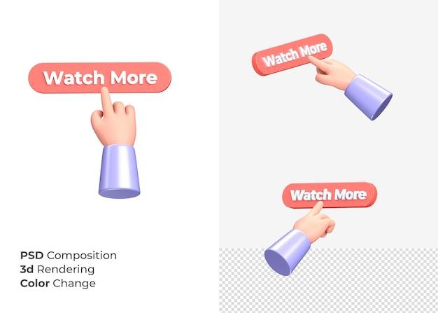 3d-rendering sehen mehr cta knopf mit handkonzept