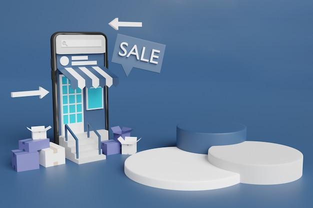 3d-rendering-stage-display-modell für scene creator in kostenlosem psd