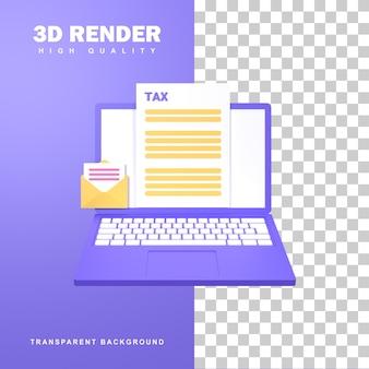 3d-rendering-steuerzahlungskonzept mit einem brief mit einem steuerformular.