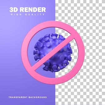 3d-rendering stoppen sie die coronavirus-zellpandemie.