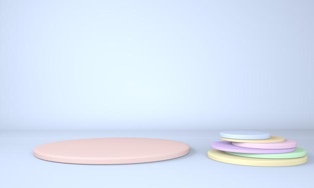 3d-rendering-studio mit geometrischen formen des podiums auf dem boden