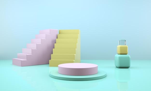 3d-rendering-studio mit geometrischen formen, podium auf dem boden. plattformen für die produktpräsentation,