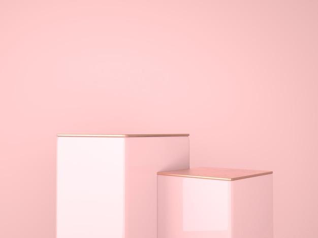 3d-rendering-studio mit geometrischen formen, podium auf dem boden.