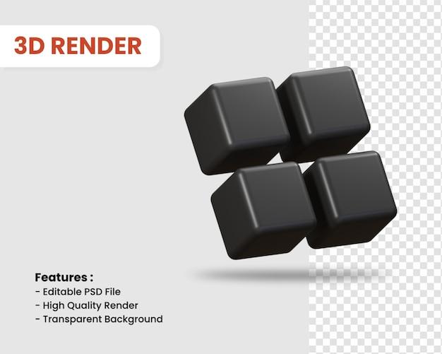 3d-rendering-symbol von mehreren würfeln isoliert dunkle farbe