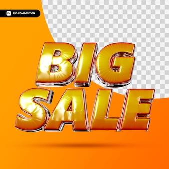 3d-rendering-text des großen verkaufs lokalisiert
