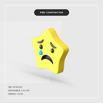 3d-rendering trauriger stern emoji isolierte prämie