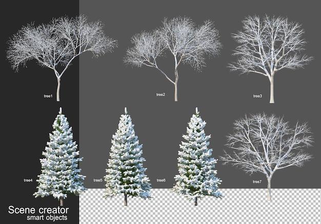 3d-rendering verschiedener arten von winterbäumen