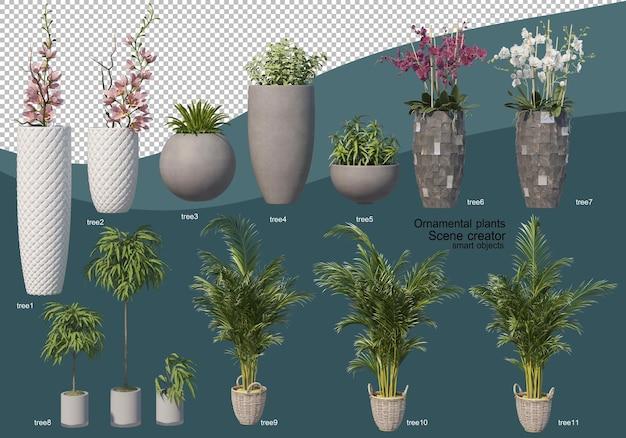 3d-rendering verschiedener arten von zieranordnungen