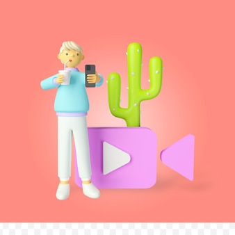 3d-rendering-videoanrufkonzept