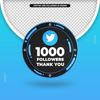 3d-rendering von 1000 followern auf twitter-design