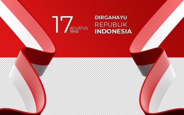 3d-rendering von 17. august indonesien happy independence day grußkarte