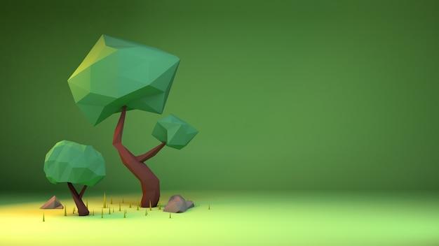 3d-rendering von bäumen im low poly-stil